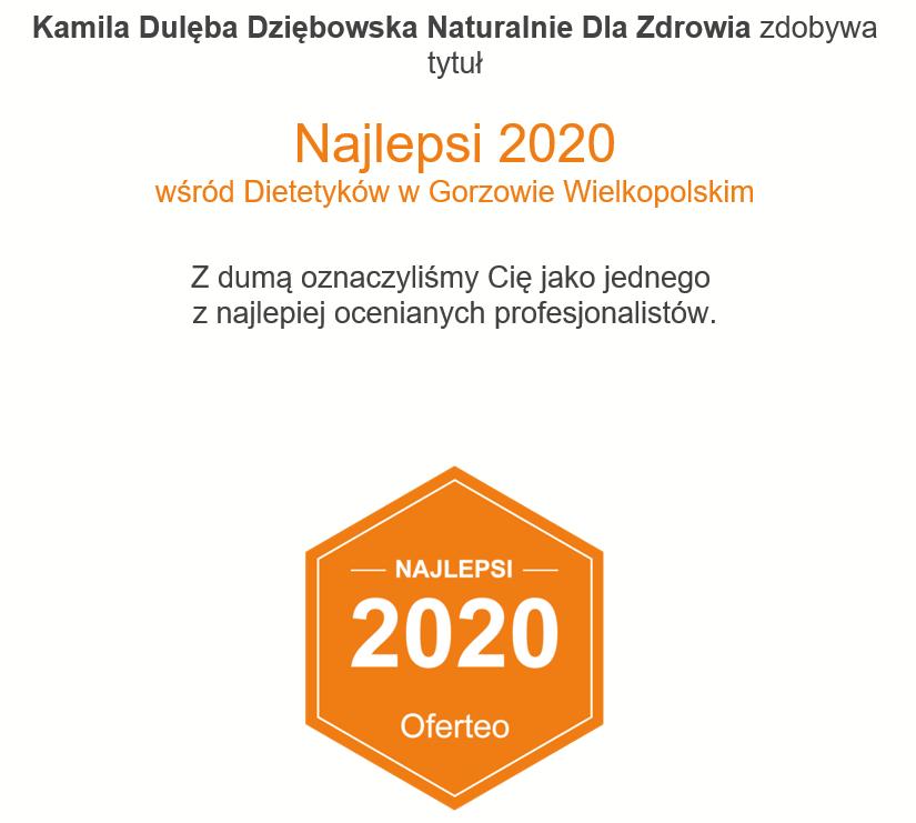 Najlepsi 2020 wśród dietetyków w Gorzowie Wielkopolskim dietetyk Kamila Dulęba Dziębowska Naturalnie Dla Zdrowia