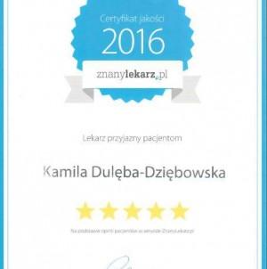 Certyfikat jakości Znany Lekarz. Kamila Dulęba Dziębowska Naturalnie Dla Zdrowia